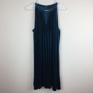 Cynthia Rowley Dark Teal Velvet Dress Medium